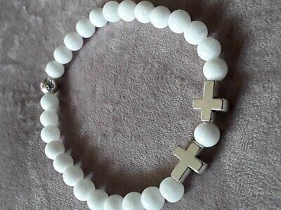 RLENARMBAND, KREUZ PERLEN, GOTHIC PUNK BIKER  ,RELIGIÖS  (Weiße Perlen-armband)