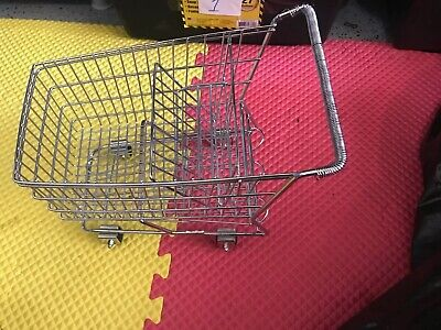 Small Chrome Metal Toy Shopping Cart Realistic W Rolling Wheels Pretend Dill