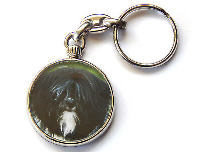 TIBETAN TERRIER Dog Puppy Quality Chrome Keyring Picture Both Sides