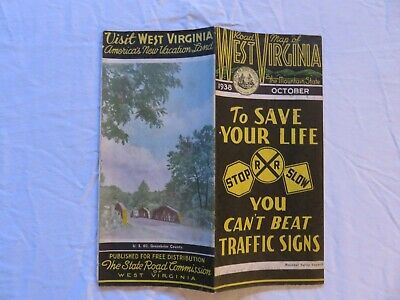 West Virginia State Road Map October 1938 Issued By The State Road Commission