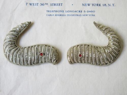 2 Wonderful Unused Vintage Silver Bullion Eel Appliques Emblems