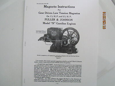 1923 1 12 2 12hp N Fuller Johnson Gas Engine Magneto Instructions Manual