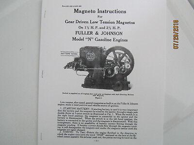 1923 1 12 2 12hp N Fuller Johnson Gas Engine Magneto Instructions Manual