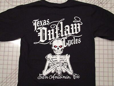 TEXAS OUTLAW CYCLES Skeleton T-SHIRT Mens SMALL 2-Sided San Antonio Motorcycle S