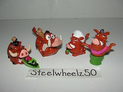 Disney Lion King Timon & Pumbaa 4 Toy Lot 1994 Burger King Pull Back String RARE