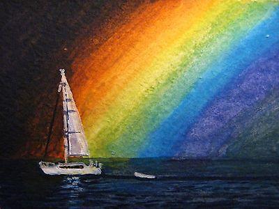 Painting Ocean Rainbow Sailboat Sail Yacht Boat Rain Nature ACEO Art