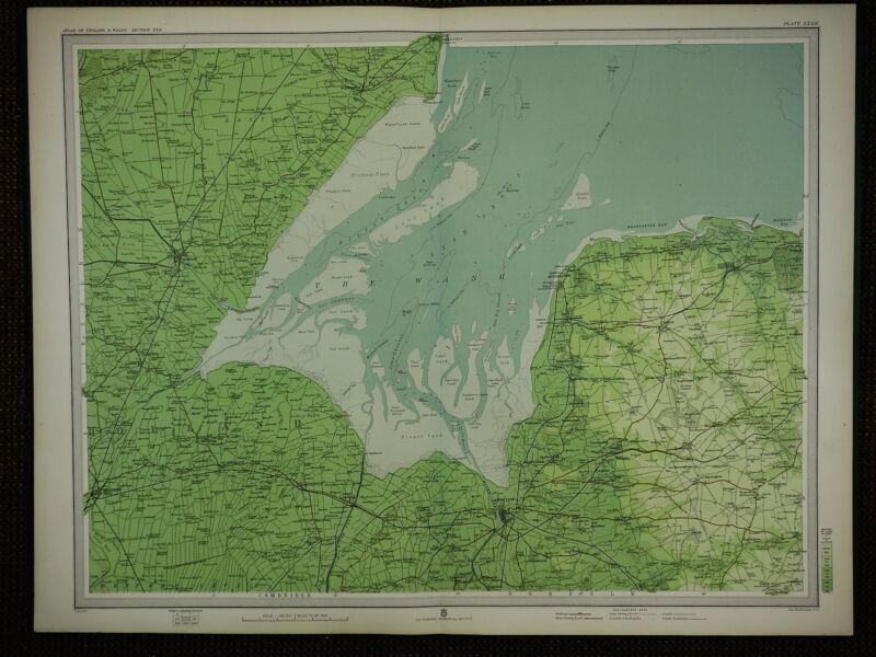 1903 MAP ~ THE WASH BOSTON WAINFLEET HUNSTANTON KINGS LYNN & VILLAGES