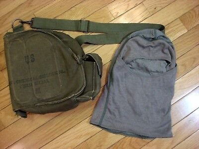 VINTAGE M17 A1 US ARMY GAS MASK Canvas Bag & FR hood for sale  Dover