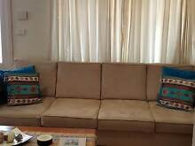 4 Seater + 2 seater Chaise Beige Suede Lounge suite Merrylands Parramatta Area Preview