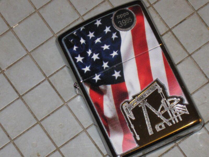 Oil Well Pump Jack Derrick Flag Stars & Strip Chrome ZIPPO USA Windproof LIGHTER