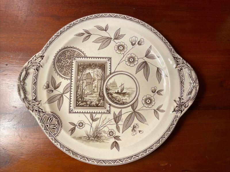 Antique Victorian Brown Transferware Plate James Beech PERAK Aesthetic Movement