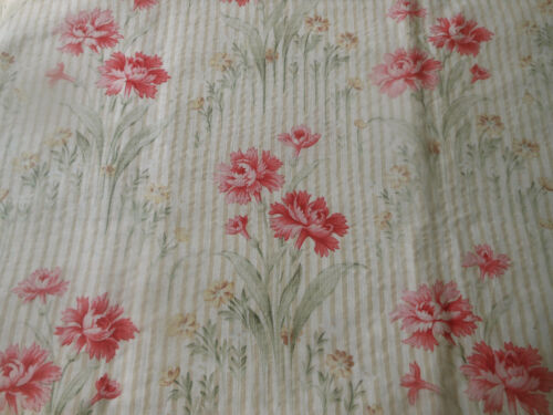Antique French Cottage Carnation Floral Stripe Cotton Fabric ~ Pink Green Gold