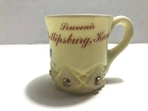 Antique Souvenir Cup Custard Glass PHILLIPSBURG KANSAS