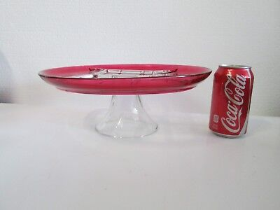 """1x Indiana Diamond Point RUBY STAINED 12"""" Round PEDESTAL STAND Divided Relish"""
