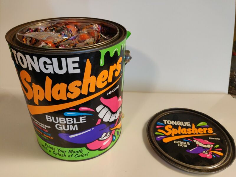 VINTAGE 90S 1990s TONGUE SPLASHERS BUBBLE GUM PAINT FULL CAN CRAZY CANDY