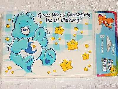 NEW CARE BEARS 1st  BIRTHDAY BOY  8-INVITATIONS WITH ENVELOPES  PARTY SUPPLIES - 1st Birthday Party Supplies For Boys