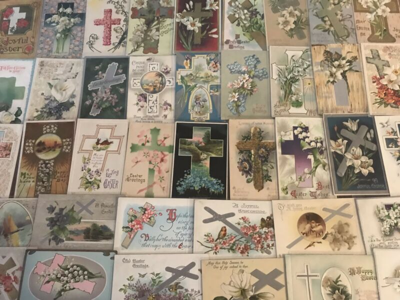 Big LOT of 50 Antique~EASTER CHRISTIAN~CROSSES~ Religious~CROSS POSTCARDS-b521