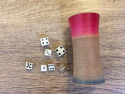 Antique 1800s Turned Wood Dice Shaker. Wooden Cup. Plus Miniature Dice