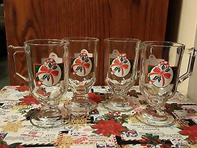 Glass Set Pedestal - Set Of 4 Christmas Pedestal Cups Mugs, Clear Glass w VTG Candy Cane/Bow Design