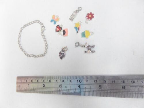silver+coloured+and+enamel+charms+with+small+chain+bracelet+for+kids+craft