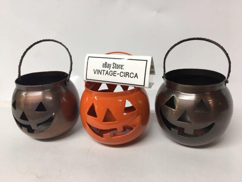 Lot of (3) HALLOWEEN Metal Tealight Candle Holder HOSLEY USA Pumpkin JOL VINTAGE