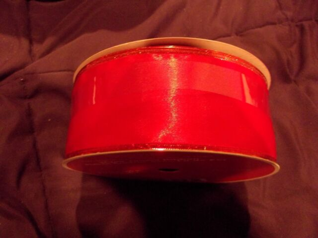 """RED  2.5 """" Wide Wired Ribbon 100 FT"""