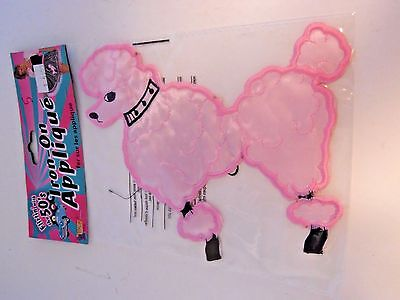 50's Iron On Pink Poodle Applique For Skirt Costume Sock Hop School Halloween  (50's Costumes For Halloween)