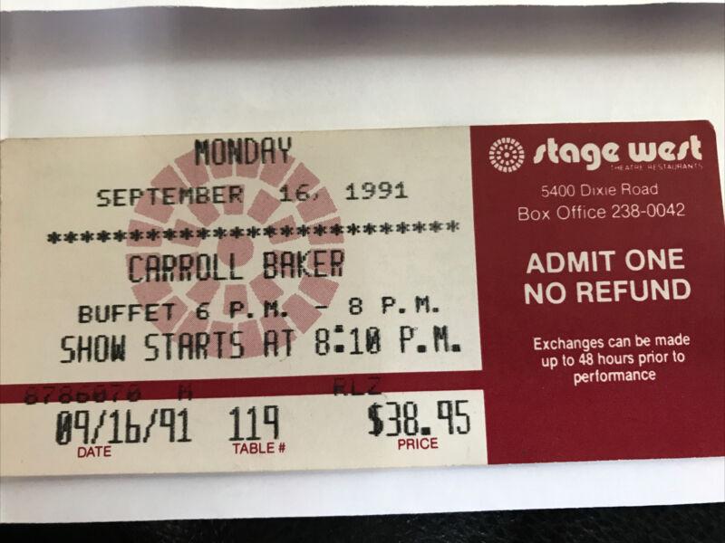 Carroll Baker Ticket Stub Stage Weat Toronto September 16 1991