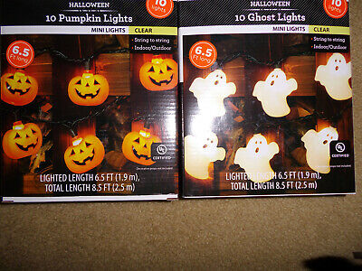 2 sets HALLOWEEN PUMPKIN & GHOST 10 LIGHTS STRING W/ COVERS SKELETON blow mold