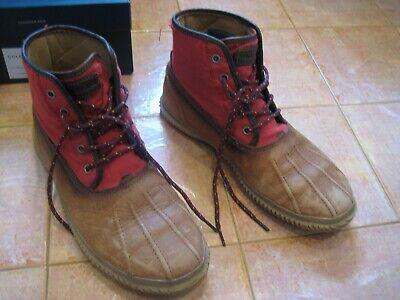 Cole Haan Trenton waterproof duck boots camel leather/red cordura nylon 9.5 Red Waterproof Leather