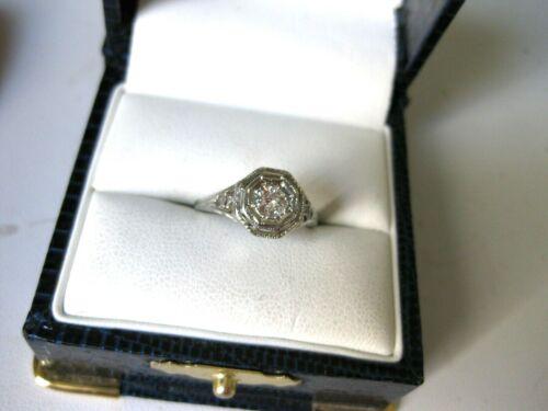 ANTIQUE 18K WHITE GOLD FILIGREE RING with FINE DIAMOND,ART DECO,1920