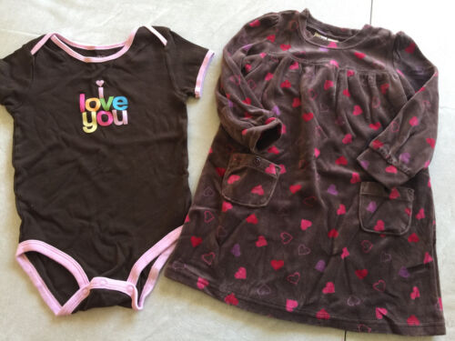 Baby Girls 24 Months Dress And Outfit Hearts Osh Kosh Carters Velour Brown Lot
