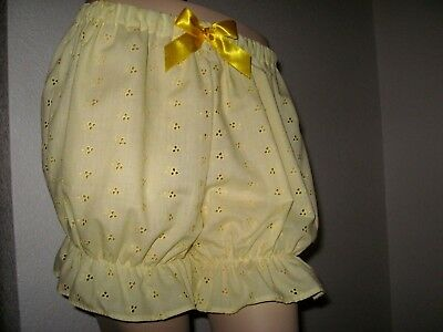 New Adult Baby Yellow embroidery anglaise Sissy Short Bloomers Pantaloons Lolita - Adult Bloomers