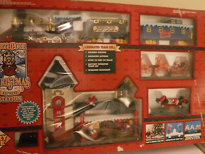 Vintage North Pole Christmas Express Station Animated Train Set, New Old Stock