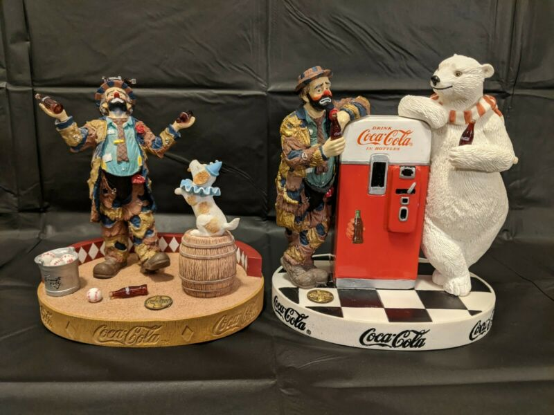 Coca Cola Emmett Kelly Ltd Ed Figurine Lot Refreshes You Best Cool Off With Coke