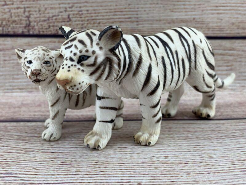 Schleich Lot WHITE SIBERIAN TIGER Big Cat & Cub Realistic Wildlife Figure 2003