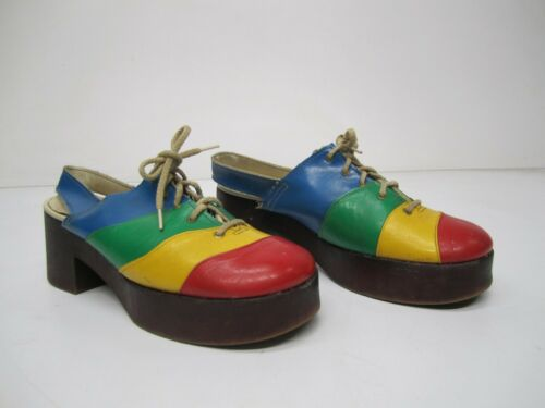 Vtg c1970s Rainbow Color Block Slingback Platform Shoes Lace Up Disco