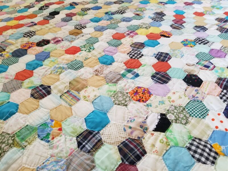 Vintage Very Colorful Hexagons Galore Quilt 80x62