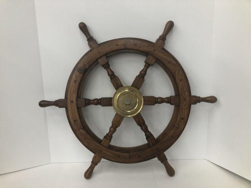 "Wood/ Brass 24"" Ship Steering Wheel Maritime Pirate Nautical Wall Decor"