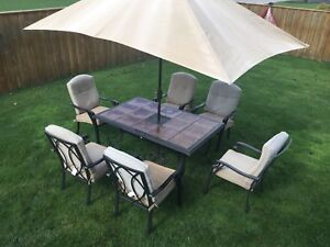 Patio set and 2 lounges