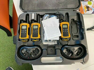 Motorola TLKR T80 Extreme Walkie Talkies [Set of 3 + chargers, headset & case]
