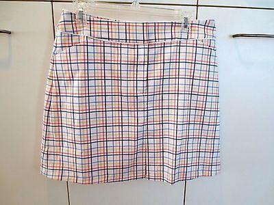 Tail White Label Golf Skort Skirt Short Lined White Plaid  Size 8  NWOT