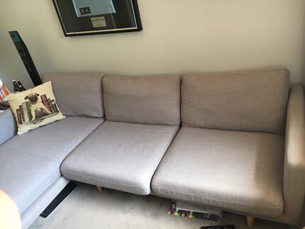 Freedom Furniture 3 seater lounge with chaise. Scandi inspired design.