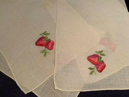 Set 4 Antique Fine Linen Cocktail Tea Napkins Hand Embroidered w Strawberries