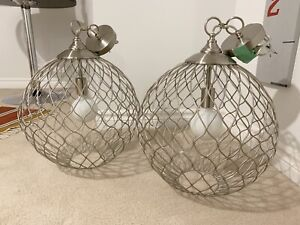 Two Beautiful Modern Globe Pendant Light Fixtures - LIKE NEW!