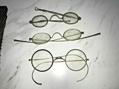 Lot of (3) Antique Victorian Eye Glasses Spectacles (1) Gold Round Rim