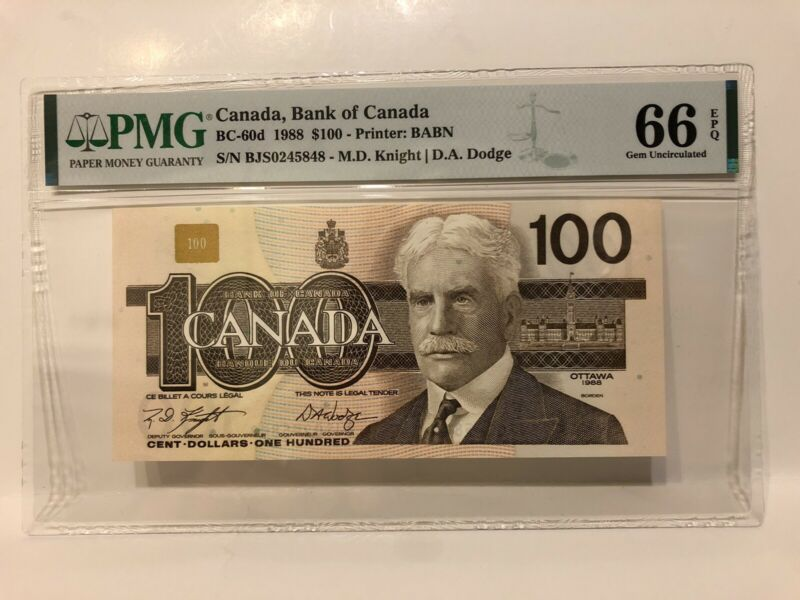 PMG Graded EPQ66 —1988 Canada $100 Hundred Dollar Banknote