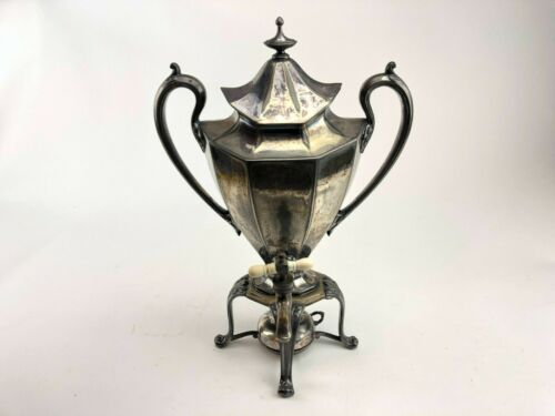 Silver Plated Vintage Coffee Urn W/ Burner By Reed & Barton Throphy Shape
