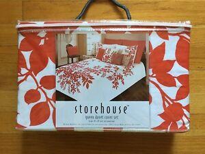 NEW Storehouse Queen Duvet Cover & Shams 3 pc Set Red & White