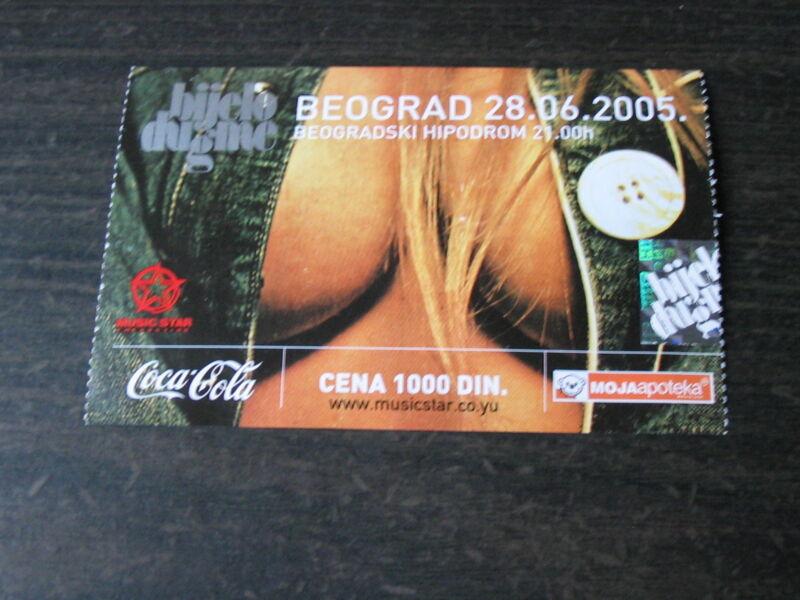 Bijelo dugme ulaznica za koncert na Hipodromu concert ticket Belgrade 2005.